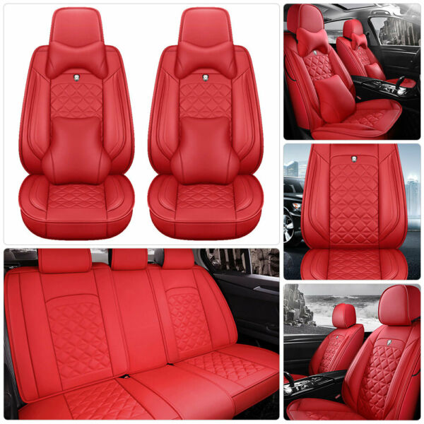US Full Red Top Leather Car Seat Cover Protectors Universal 5-Seat Pro Cushions