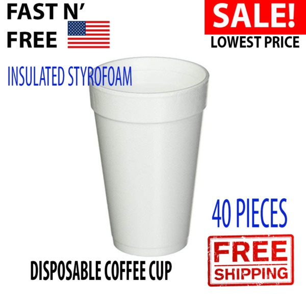 Disposable Coffee Cups Drink Hot Cold Beverages Insulated Styrofoam 16Oz White