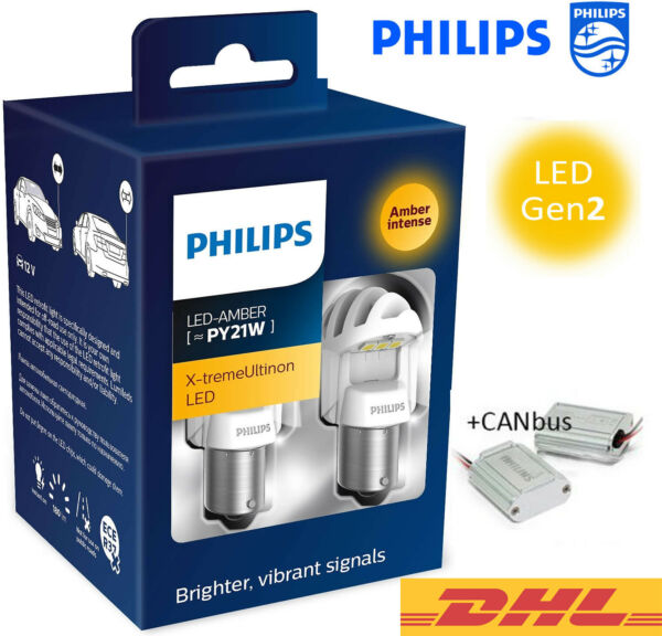 PHILIPS PY21W LED Amber+CANbus X-tremeUltinon Gen2 Car Turn Signalling Bulbs 12V
