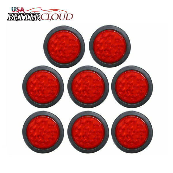 8X 4quot; Round 12 LED Trailer Stop Turn Tail Light Brake Mount Truck w Grommet Red