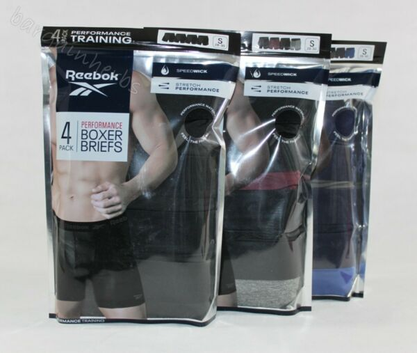 4 Pack Reebok Men's Performance Training Boxer Briefs Free Shipping Size: S-2XL