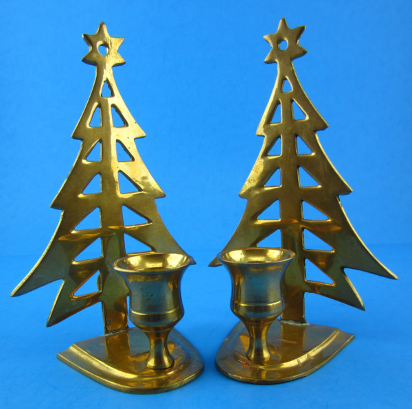 Vintage Set of 2 Solid Brass Christmas Tree Candle Holders 6