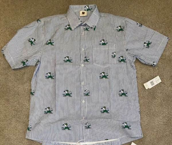 NWT NOTRE DAME FOOTBALL WES AND WILLY BUTTON DOWN XL