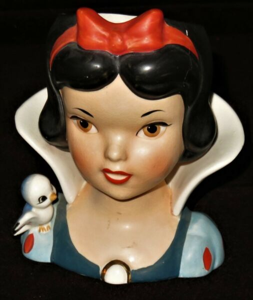 FREE SHIPPING RARE 1964 SNOW WHITE Head Vase Walt Disney Productions Enesco