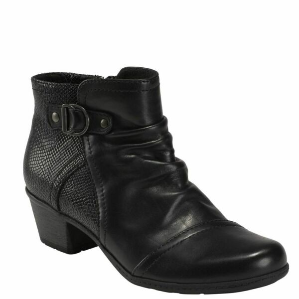 Women's Earth MALCOLM Black Side Buckle Accent Ankle Boot Shoes