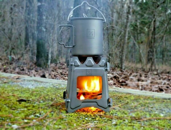 Titanium Ultralight Outdoor Camping Folding Wood Stove Backpack Travel Stove $26.95