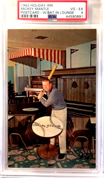 1962 HOLIDAY INN  MICKEY MANTLE POSTCARD - WBAT IN LOUNGE - PSA-4 VG-EXCELLENT
