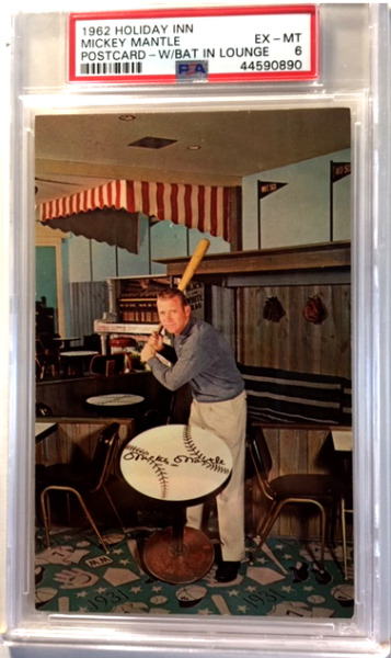 1962 HOLIDAY INN  MICKEY MANTLE POSTCARD  WBAT IN LOUNGE - PSA-6 EXCELLENT-MINT