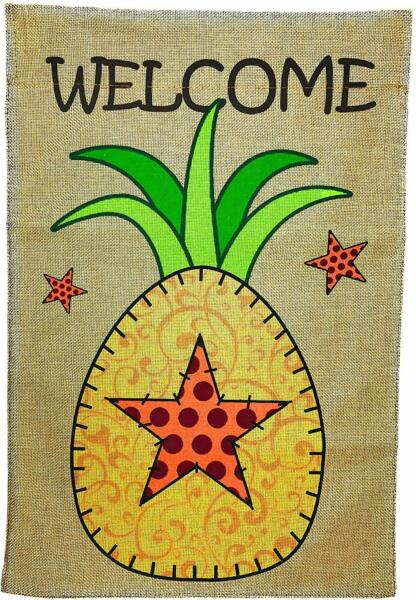 Small Summer Burlap Welcome Pineapple Garden Yard Flag 12 x 18 inch Double Sided