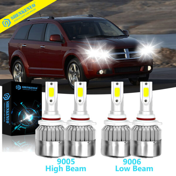 For Dodge Journey 2010-2017 LED Headlight HiLow Beam Kit Light Bulbs 4pcs White