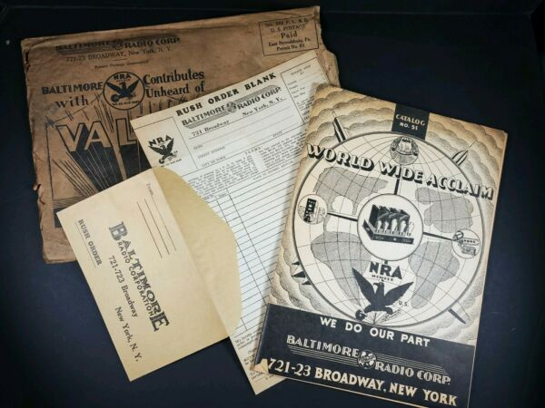 Baltimore Radio corp 1930#x27;s Catalog 64 pages Mail Envelope order form Original