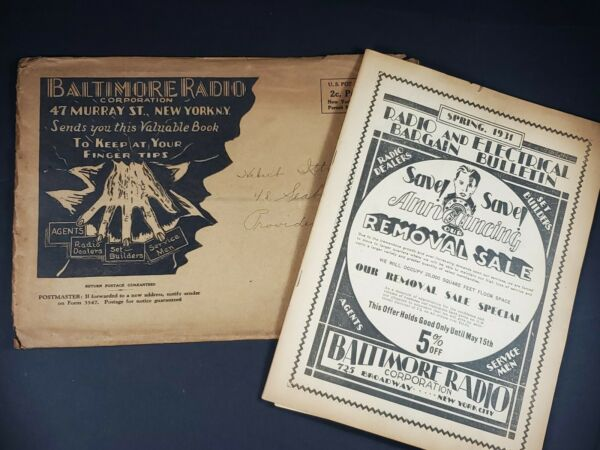 Baltimore Radio corp 1931 Catalog 48 pages Mail Envelope order form Original