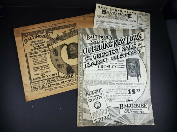 Baltimore Radio corp 1930#x27;s Catalog 32 pages Mail Envelope order form Original