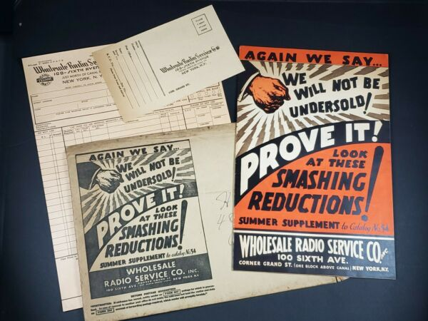 Wholesale Radio Service 1930#x27;s Catalog 48 pgs Mail Envelope order form Original