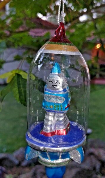 ROBOT ASTRONAUT SPACESHIP GLASS ORNAMENT 6quot; Retro Sci Fi NEW Blue $18.00
