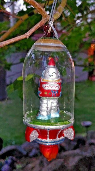 ROBOT ASTRONAUT SPACESHIP GLASS ORNAMENT 6quot; Retro Sci Fi NEW red $18.00