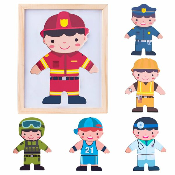 Kids Pretend Play Fridge Magnetic Wooden Doll Jigsaw Puzzle Toy Educational Gift
