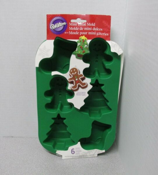 Wilton Mini Treat Mold Christmas Silicone 6 Cavities Baking Mold Stocking Tree