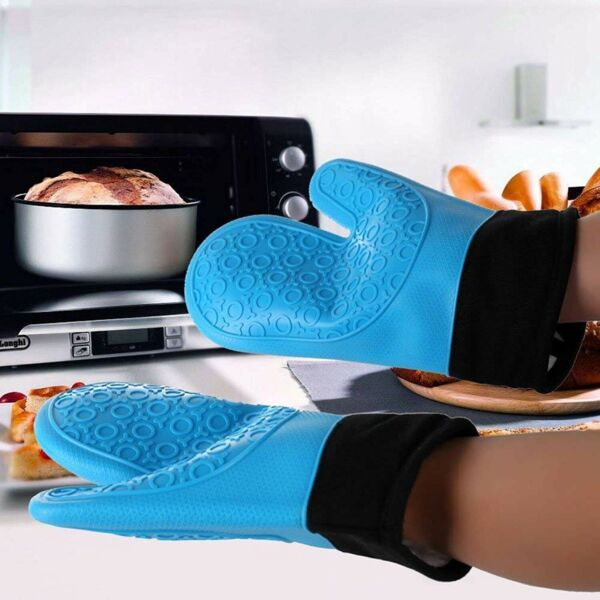Pair Silicone Oven Mitts Gloves Pot Holders Cooking Kitchen BBQ Baking Barbecue