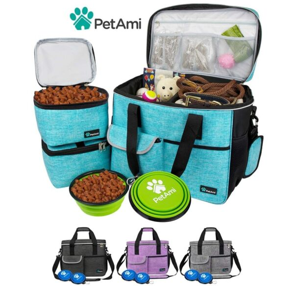 Pet Supply Travel Bag Set Weekend Tote Dog Gear Food Carrier Accessory Organizer $31.99