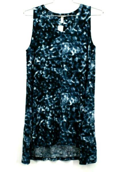 New Sonoma Women's XL Teal Tie Dye Soft V Neck Sleeveless Tunic Tee Tank Top