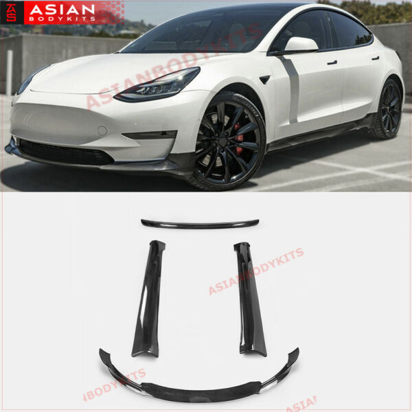 DRY CARBON BODY KIT for TESLA model 3 VRS 2016+ FRONT LIP SIDE SKIRTS DIFFUSER