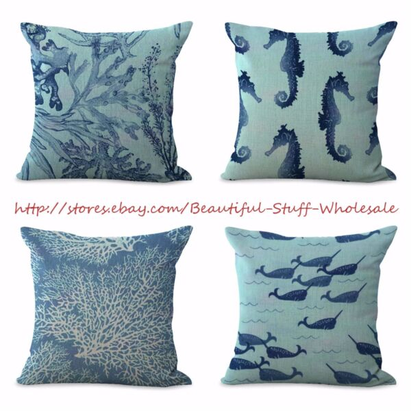4pcs cushion covers nautical seashorse patio furniture cushion covers $31.96