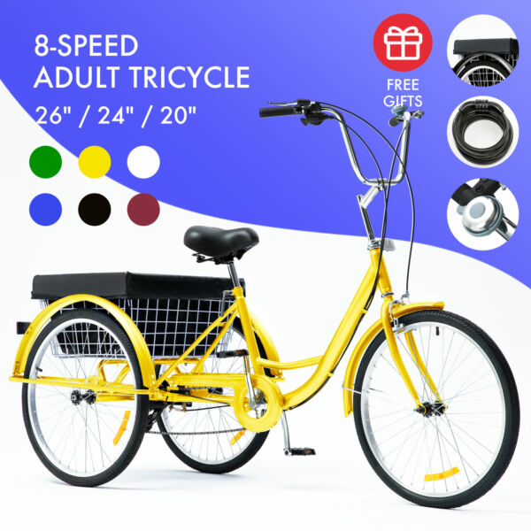26quot; 24quot; 20quot; 8 Speed Adult Trike Tricycle 3 Wheel Bike w Basket for Shopping