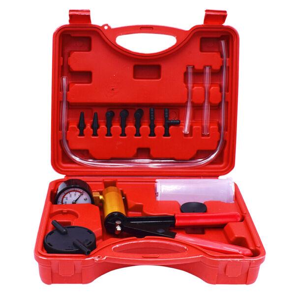 Brake Fluid Bleeder Hand Held Vacuum Pistol Pump Tester Kit + Adapters w/ Box
