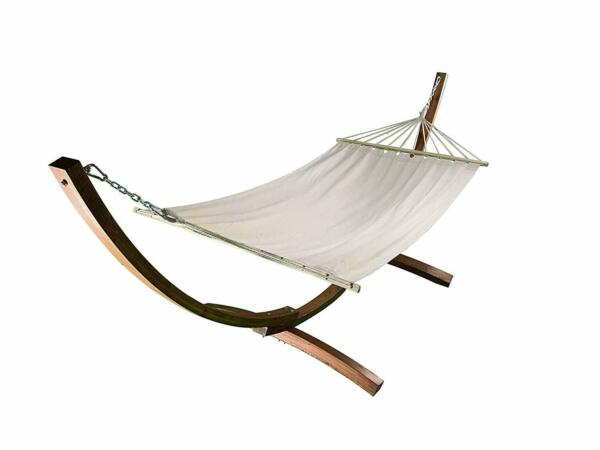 12 Ft.Water Treated Wooden Arc Hammock Stand Premium Quilted Beige Hammock bed $189.99