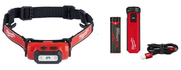 Milwaukee Hard Hat Head Lamp Light Kit 2111-21 Additional Battery and Charger!