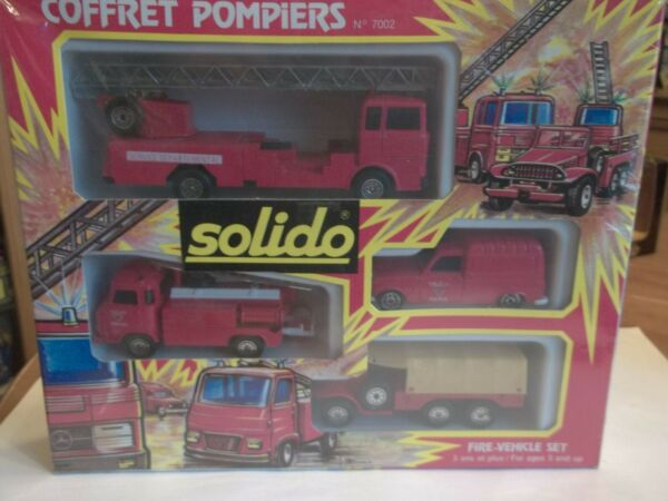 Vintage Solido 7002 Coffret Pompiers Fire Set New Old Stock 1 43 Scale
