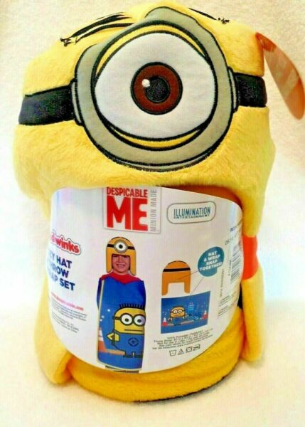 Minion Hoodiwinks Kid's Throw Blanket Wrap With Cozy Hat Despicable Me New