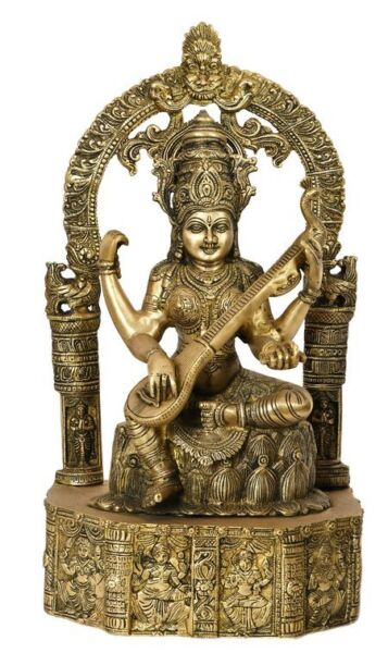 Goddess Of Wisdom Saraswati Statue Idol On Base Carved with Indian Deities 20