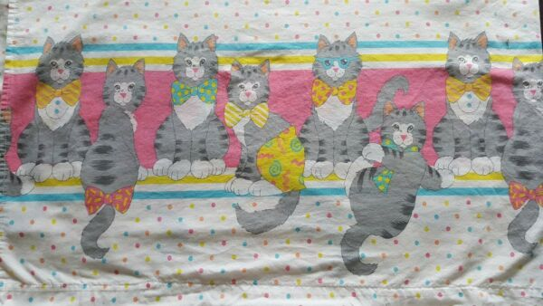 Vintage Franco Kitty Cat flat sheet & pillowcase made in Turkey ADORABLE 5545