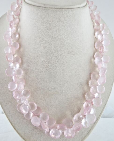 NATURAL ROSE QUARTZ BEADS FACETED 675 CARATS HEART TEAR DROPS SILVER NECKLACE