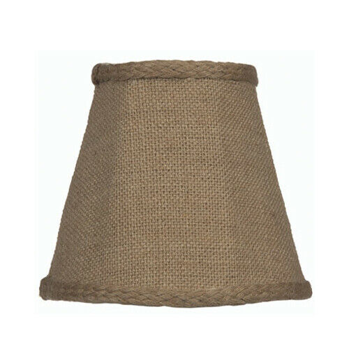 Burlap Brown Candelabra Clip On Fabric Lamp Shade 3quot; x 5quot; x 4 1 2quot;