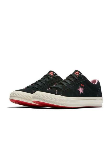 Converse X Hello Kitty One Star Ox Leather 162938C Black/Prism Pink/Egret NWB