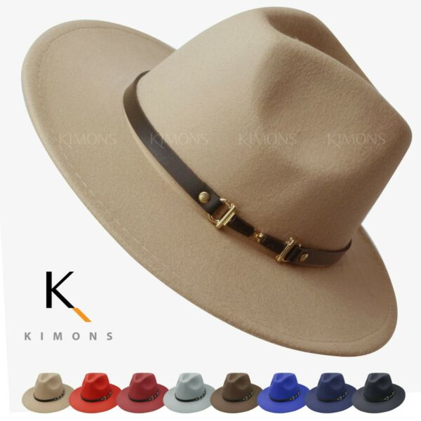 Woolish Fedora Men Women Belt Felt Hat Wide Brim Trilby Panama Hat Wide Brim Cap