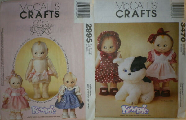 NEW Lot of 2 McCalls 2995 3470 Kewpie 14quot; Doll amp; Clothes amp; Doodles Dog Patterns $9.60