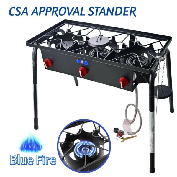 87000 BTU Outdoor Propane Triple Burner Stove Cast Iron Camping Cooking Burner