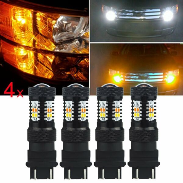 4x 3157 4157NA White Yellow Switchback LED Turn Signal DRL Parking Light Bulb EE