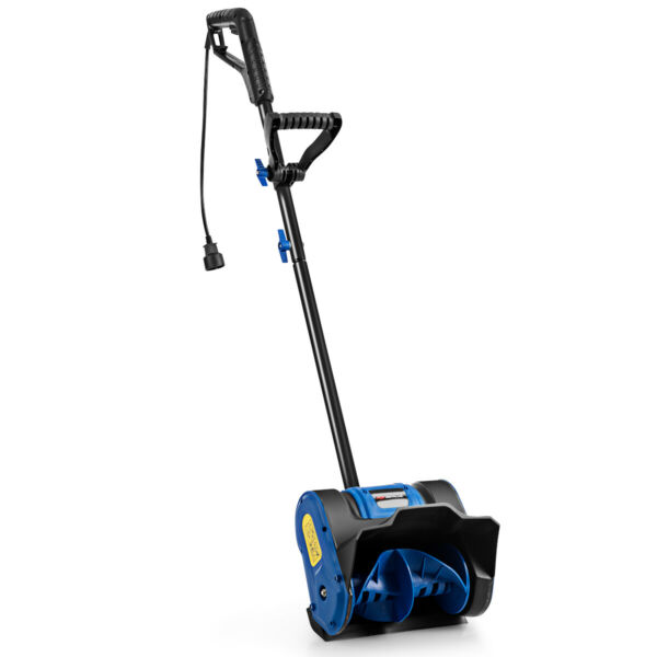 12quot; 9 Amp Electric Corded Snow Shovel Driveway Yard Snow Thrower Black amp; Blue