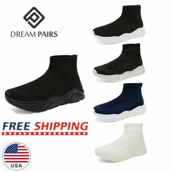 DREAM PAIRS Men's Knit High Top Sock Sneakers Casual Running Walking Shoes