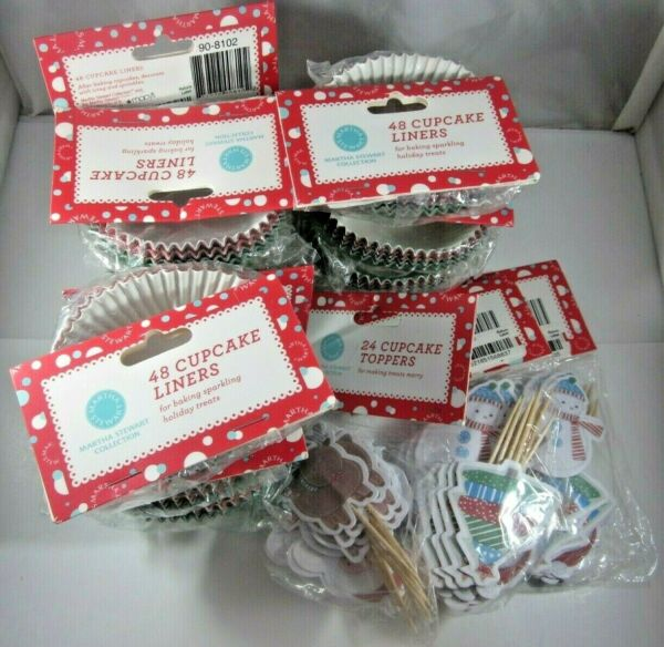 MARTHA STEWART 9 packs red green Christmas Cupcake Liners and 3 packs Toppers