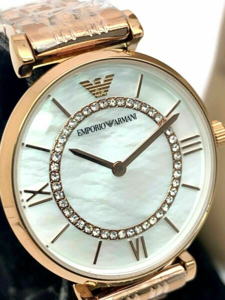 Emporio Armani Women's Watch AR1909 MOP Rose Gold Tone Pave Stainless Steel