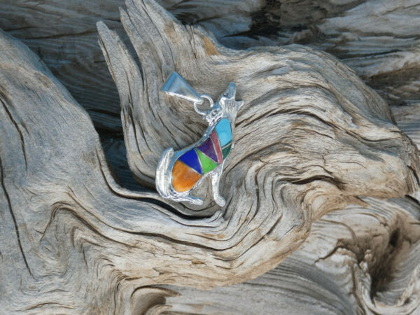 Wolf Dog Multi Gemstone amp;Turquoise Double Sided Pendant Sterling Silver 925 W5 $45.99