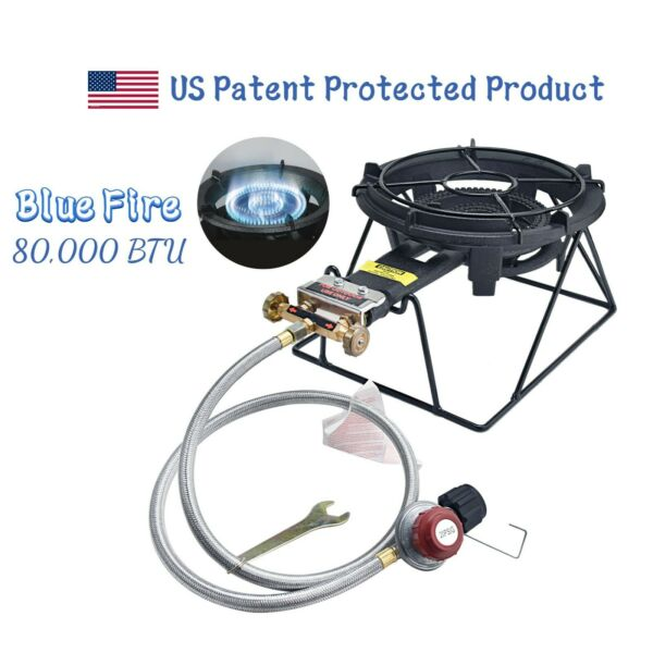 80000 BTU Outdoor Camping Propane Burner Stove Cast Iron Gas Stove with Stand
