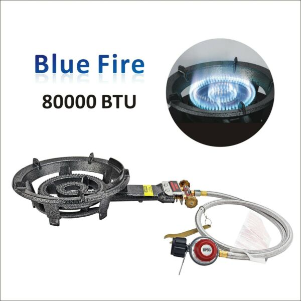 80000 BTU Portable Camping Propane Burner Stove Heavy Duty Cast Iron Gas Stove