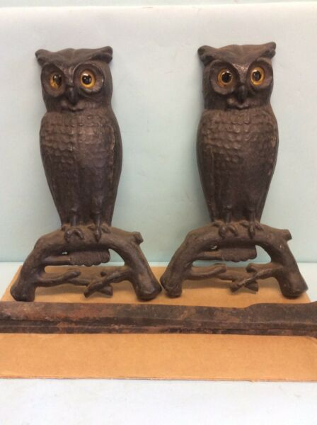 """Early Cast Iron Owl Andirons with Removable Dogs 22"""""""